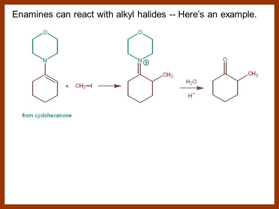 Enamines can react with alkyl halides -- Here's an example.