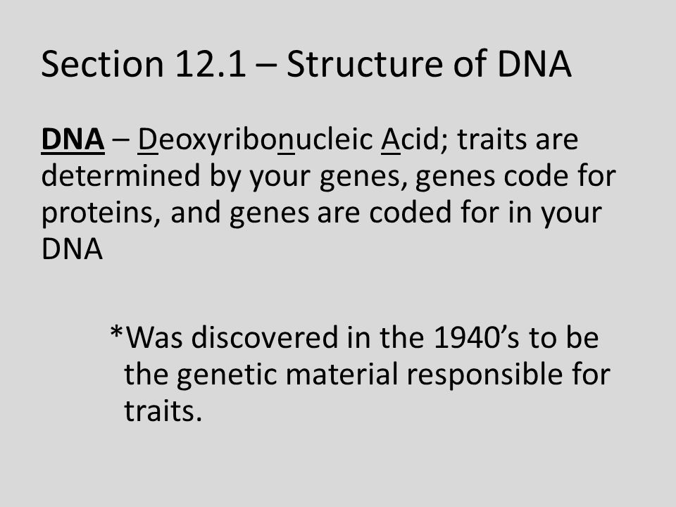 Section 12.1 – Structure of DNA DNA – Deoxyribonucleic Acid; traits are determined by your genes, genes code for proteins, and genes are coded for in your DNA *Was discovered in the 1940's to be the genetic material responsible for traits.