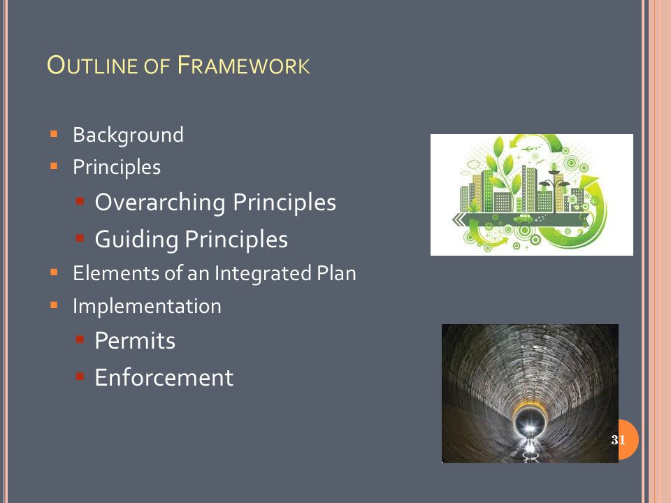 O UTLINE OF F RAMEWORK  Background  Principles  Overarching Principles  Guiding Principles  Elements of an Integrated Plan  Implementation  Permits  Enforcement 31
