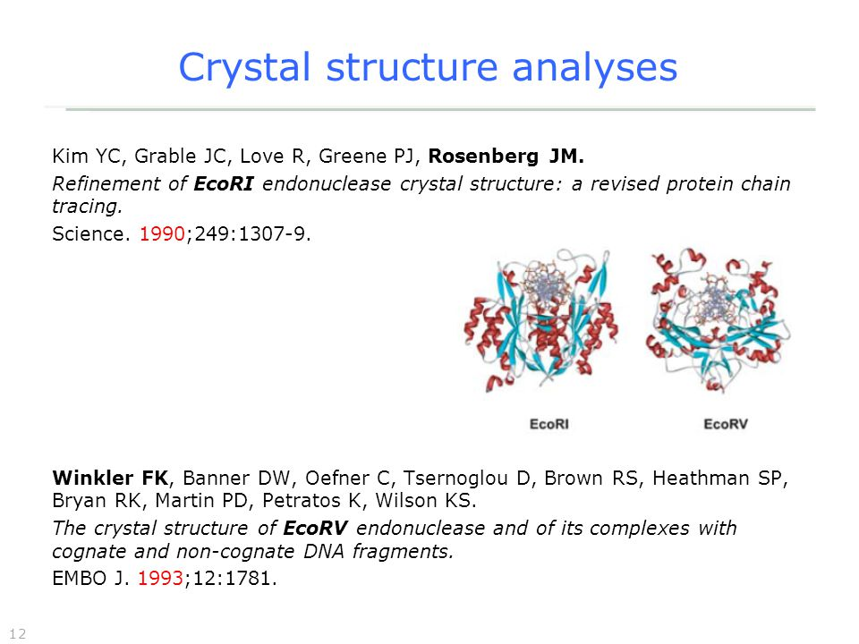 12 Crystal structure analyses Kim YC, Grable JC, Love R, Greene PJ, Rosenberg JM.