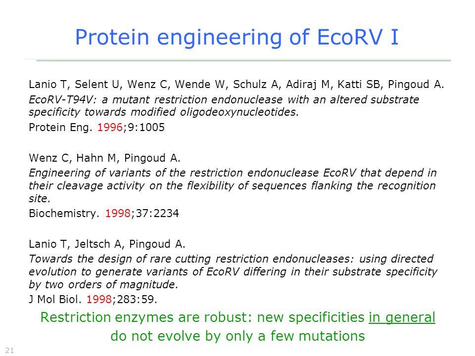 21 Protein engineering of EcoRV I Lanio T, Selent U, Wenz C, Wende W, Schulz A, Adiraj M, Katti SB, Pingoud A.