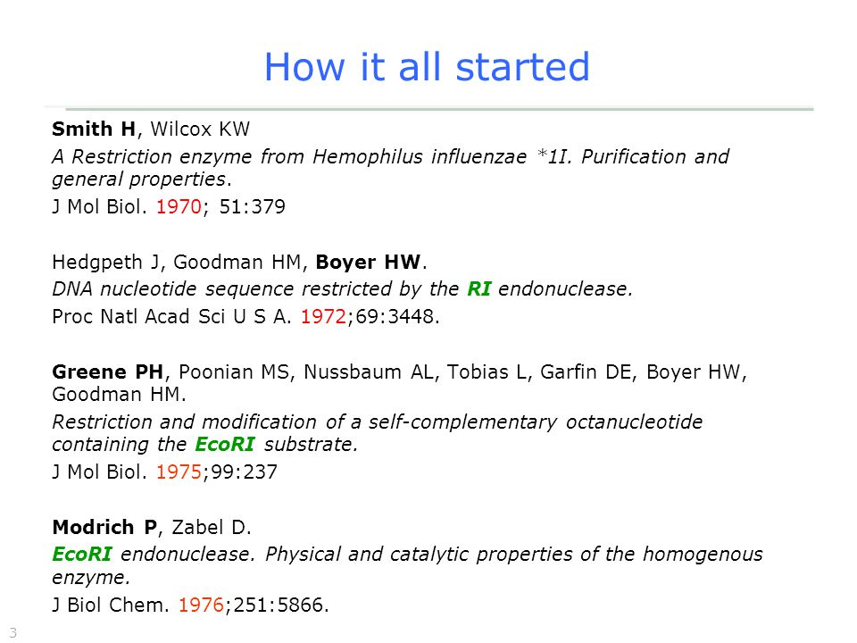 3 How it all started Smith H, Wilcox KW A Restriction enzyme from Hemophilus influenzae *1I.