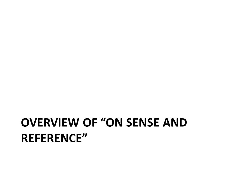 OVERVIEW OF ON SENSE AND REFERENCE