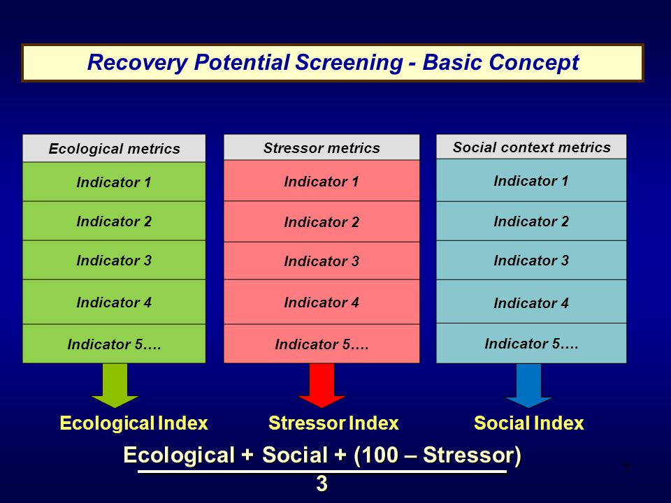 7 Recovery Potential Screening - Basic Concept Ecological Index Stressor Index Social Index Ecological metrics Indicator 1 Indicator 2 Indicator 3 Indicator 4 Indicator 5….