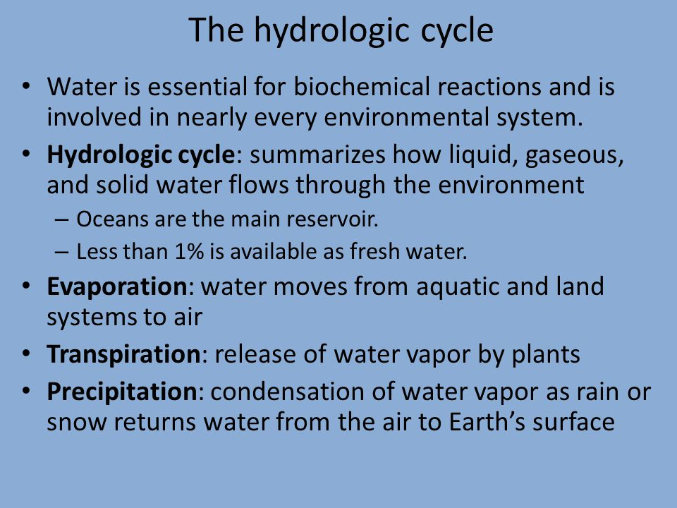 The hydrologic cycle Water is essential for biochemical reactions and is involved in nearly every environmental system. Hydrologic cycle: summarizes h