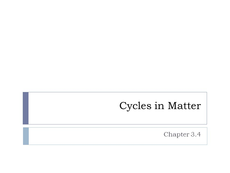 Cycles in Matter Chapter 3.4