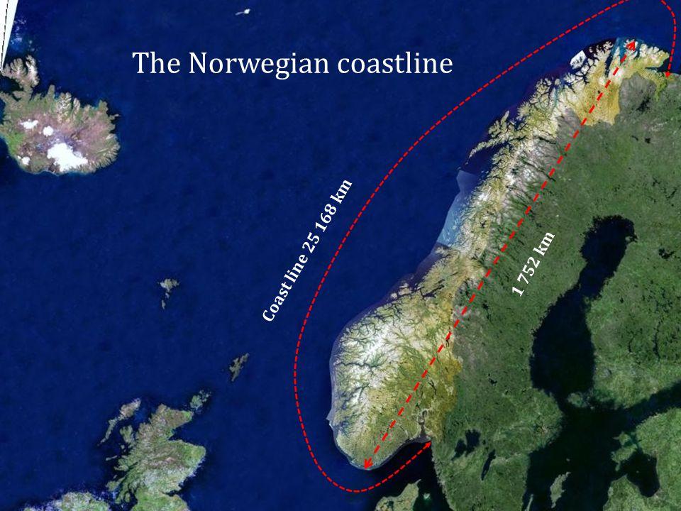 The Norwegian coastline Coast line 25 168 km 1 752 km