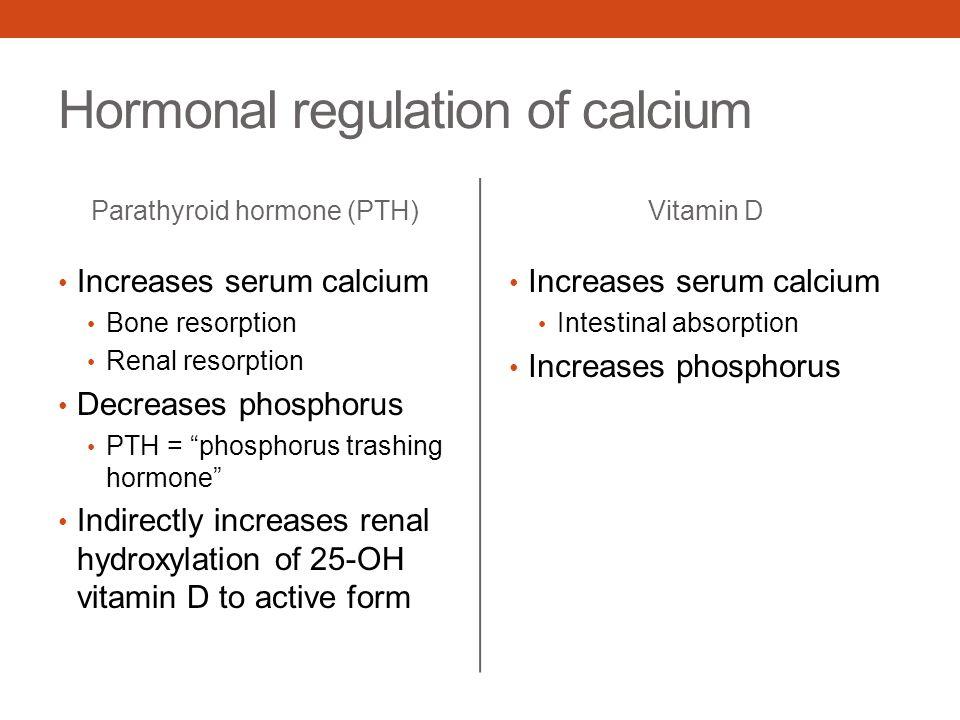 """Hormonal regulation of calcium Parathyroid hormone (PTH) Increases serum calcium Bone resorption Renal resorption Decreases phosphorus PTH = """"phosphor"""