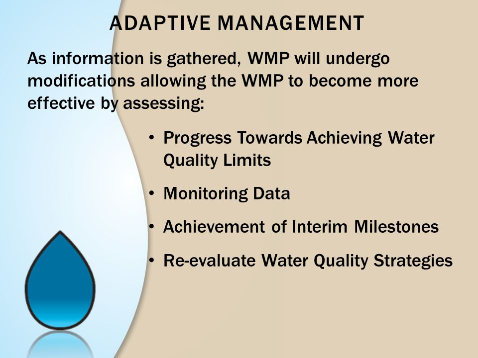 ADAPTIVE MANAGEMENT Progress Towards Achieving Water Quality Limits Monitoring Data Achievement of Interim Milestones Re-evaluate Water Quality Strate