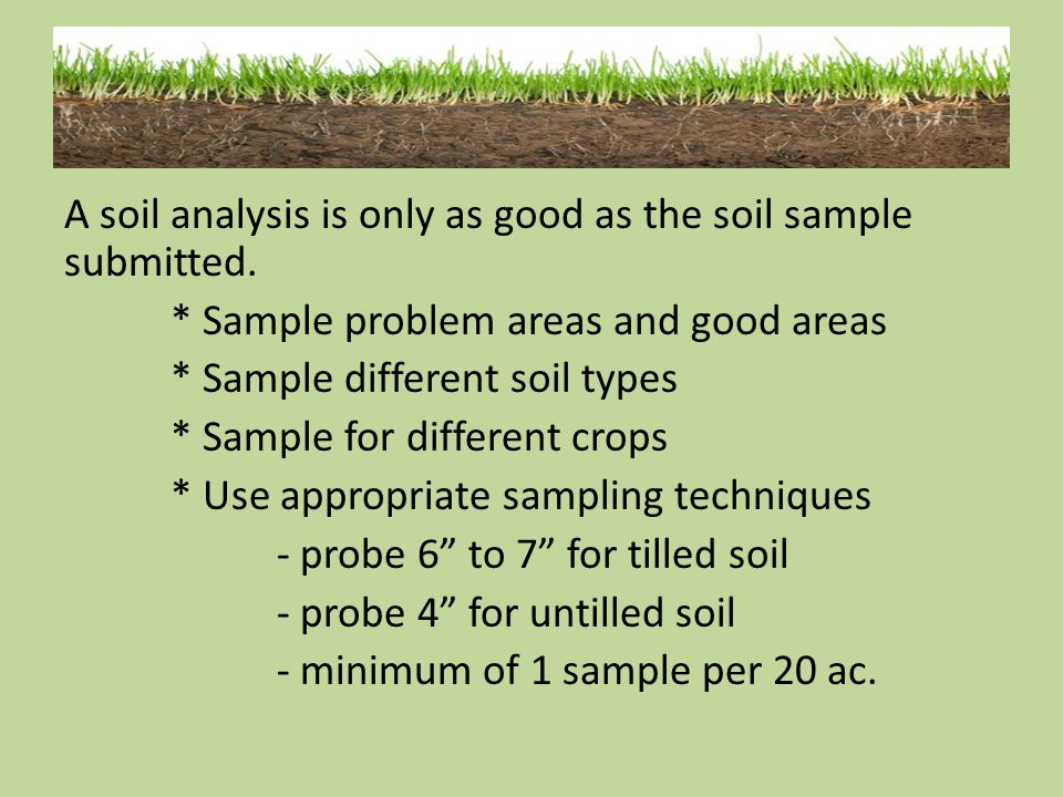A soil analysis is only as good as the soil sample submitted. * Sample problem areas and good areas * Sample different soil types * Sample for differe