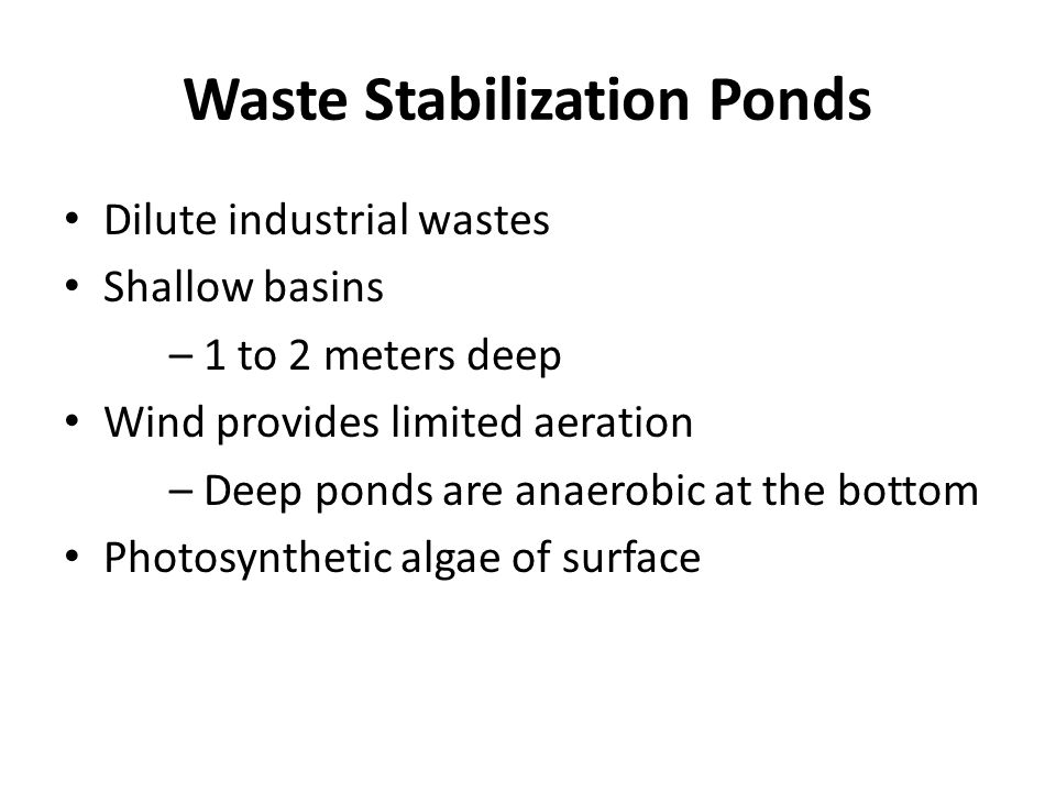 Waste Stabilization Ponds Dilute industrial wastes Shallow basins – 1 to 2 meters deep Wind provides limited aeration – Deep ponds are anaerobic at the bottom Photosynthetic algae of surface
