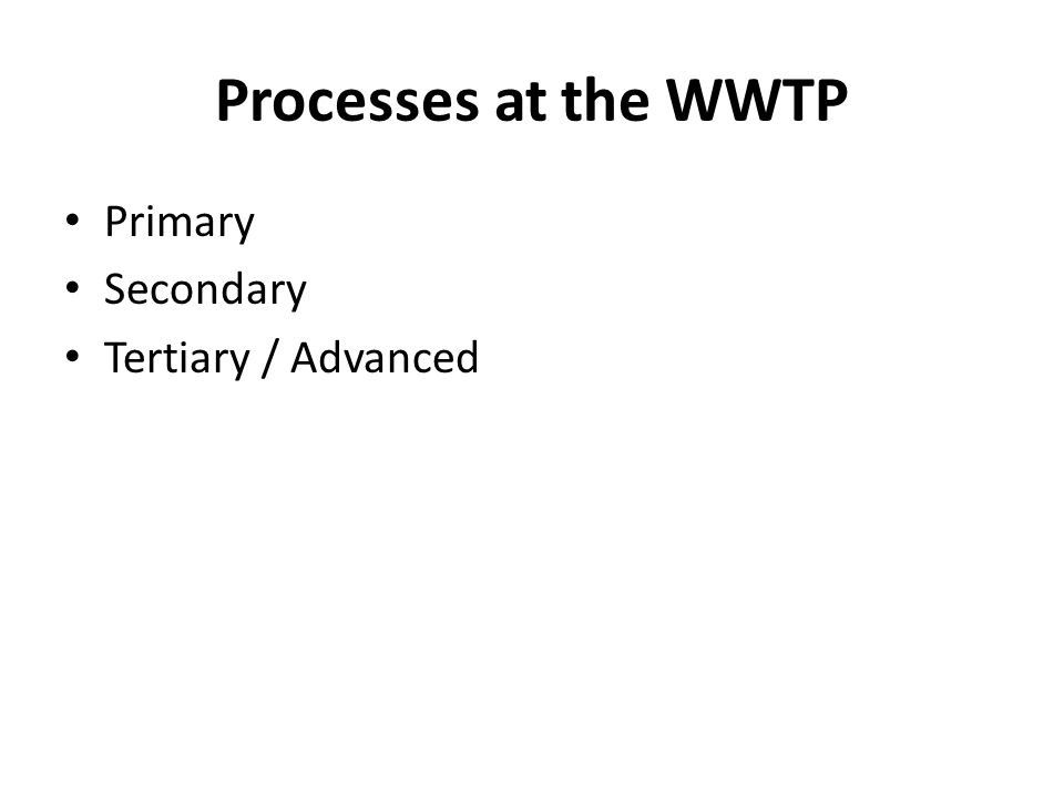 Processes at the WWTP Primary Secondary Tertiary / Advanced