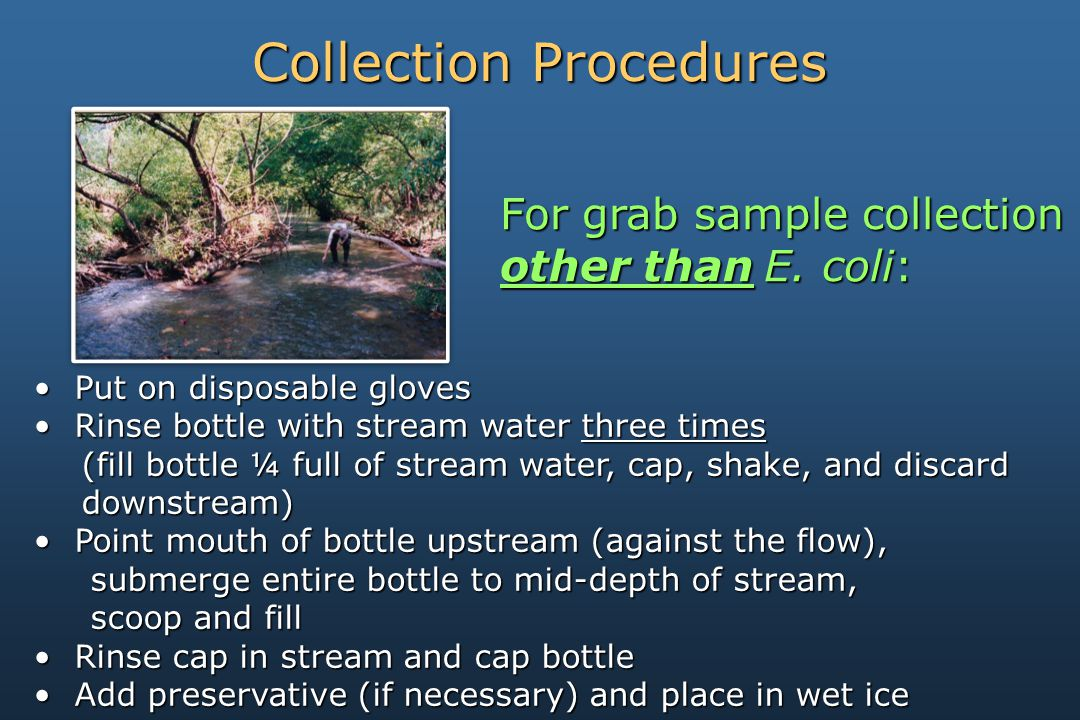 Put on disposable gloves Put on disposable gloves Rinse bottle with stream water three times Rinse bottle with stream water three times (fill bottle ¼ full of stream water, cap, shake, and discard downstream) Point mouth of bottle upstream (against the flow), Point mouth of bottle upstream (against the flow), submerge entire bottle to mid-depth of stream, submerge entire bottle to mid-depth of stream, scoop and fill scoop and fill Rinse cap in stream and cap bottle Rinse cap in stream and cap bottle Add preservative (if necessary) and place in wet ice Add preservative (if necessary) and place in wet ice Collection Procedures For grab sample collection other thanE.