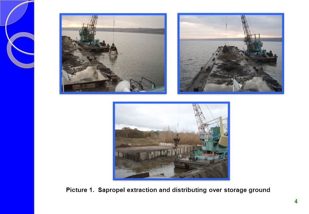 Picture 1. Sapropel extraction and distributing over storage ground 4