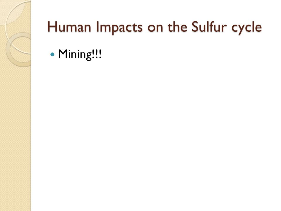Human Impacts on the Sulfur cycle Mining!!!