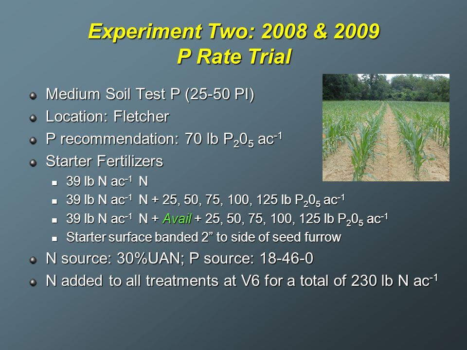 Experiment Two: 2008 & 2009 P Rate Trial Medium Soil Test P (25-50 PI) Location: Fletcher P recommendation: 70 lb P 2 0 5 ac -1 Starter Fertilizers 39 lb N ac -1 N 39 lb N ac -1 N 39 lb N ac -1 N + 25, 50, 75, 100, 125 lb P 2 0 5 ac -1 39 lb N ac -1 N + 25, 50, 75, 100, 125 lb P 2 0 5 ac -1 39 lb N ac -1 N + Avail + 25, 50, 75, 100, 125 lb P 2 0 5 ac -1 39 lb N ac -1 N + Avail + 25, 50, 75, 100, 125 lb P 2 0 5 ac -1 Starter surface banded 2 to side of seed furrow Starter surface banded 2 to side of seed furrow N source: 30%UAN; P source: 18-46-0 N added to all treatments at V6 for a total of 230 lb N ac -1