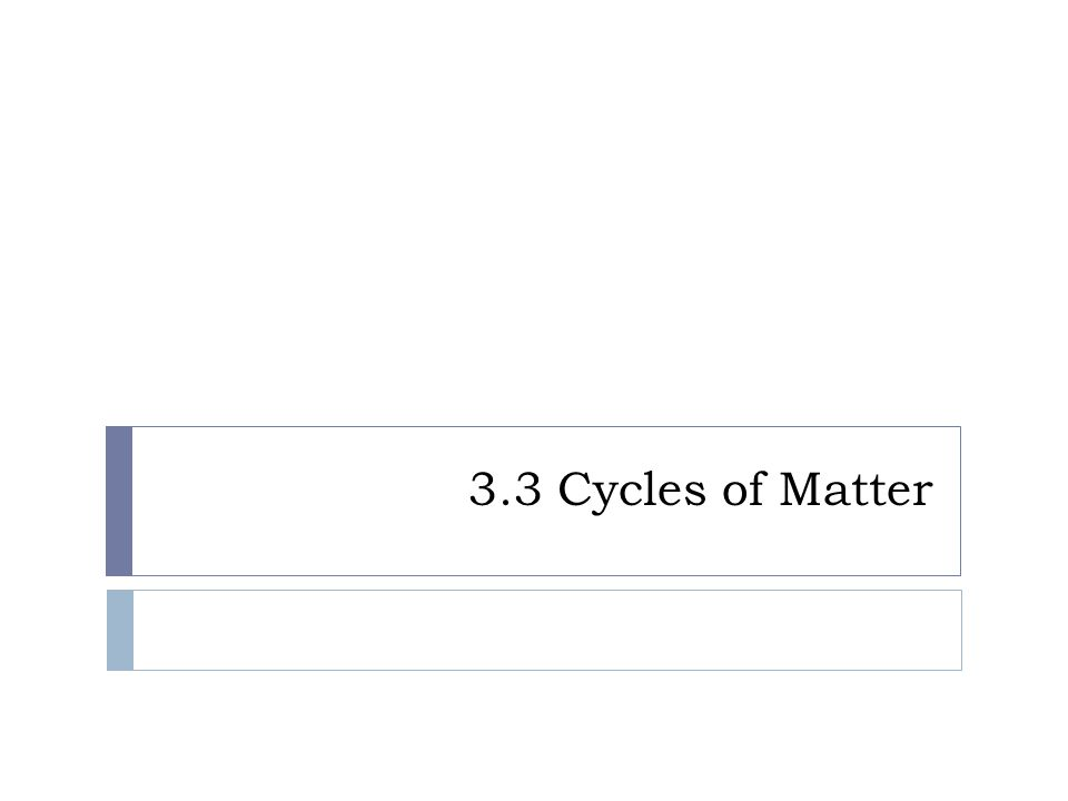 3.3 Cycles of Matter