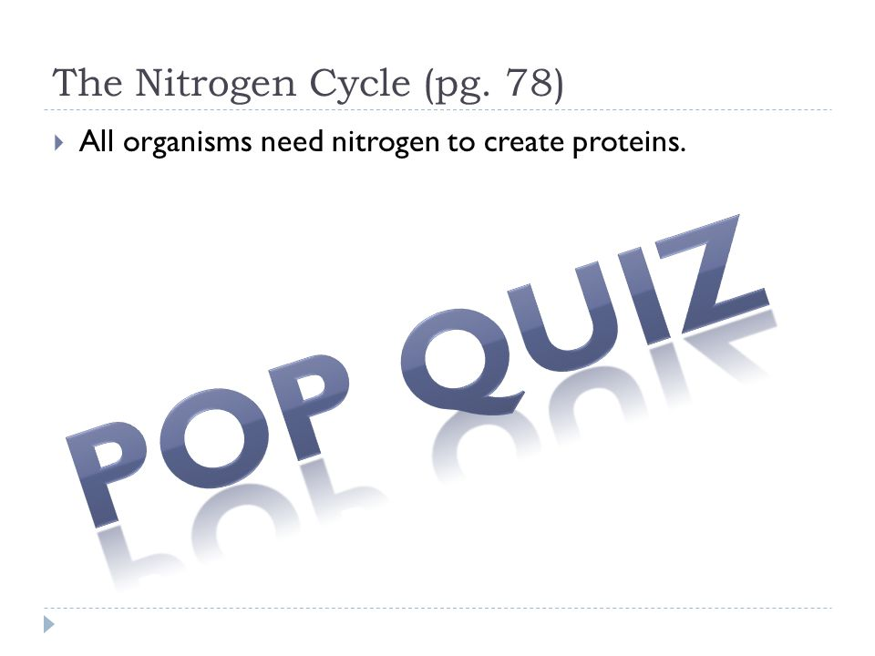 The Nitrogen Cycle (pg. 78)  All organisms need nitrogen to create proteins.