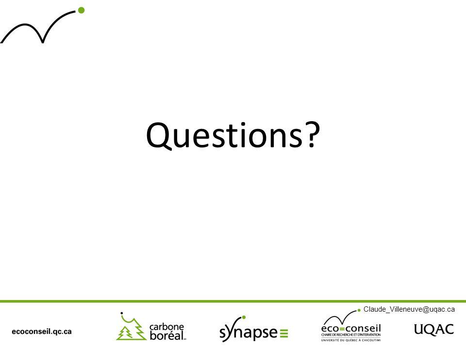 Questions? Claude_Villeneuve@uqac.ca