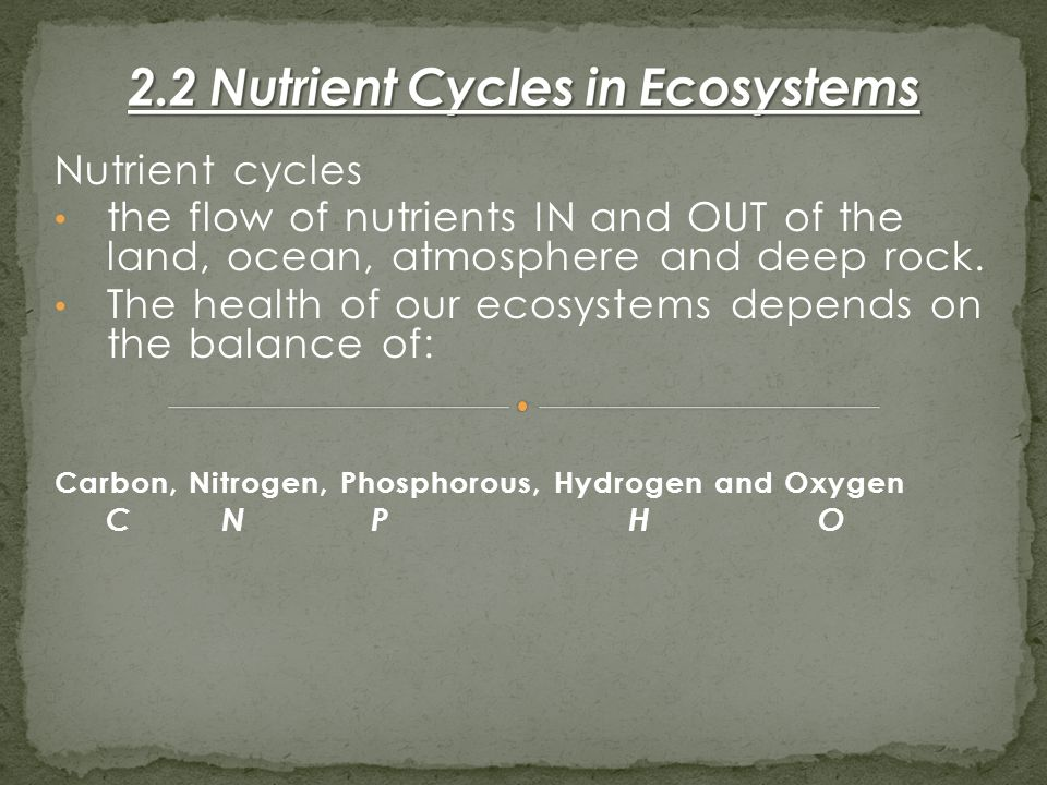 Nutrient cycles the flow of nutrients IN and OUT of the land, ocean, atmosphere and deep rock.