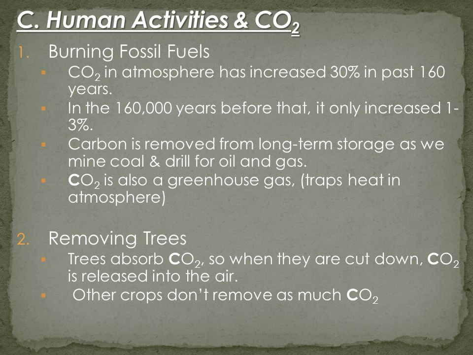 1. Burning Fossil Fuels  CO 2 in atmosphere has increased 30% in past 160 years.