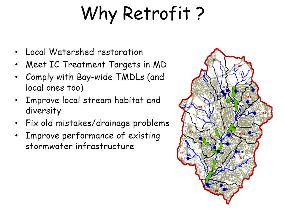 Why Retrofit ? Local Watershed restoration Meet IC Treatment Targets in MD Comply with Bay-wide TMDLs (and local ones too) Improve local stream habita