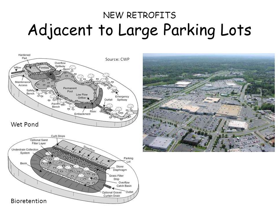 Wet Pond Bioretention NEW RETROFITS Adjacent to Large Parking Lots Source: CWP