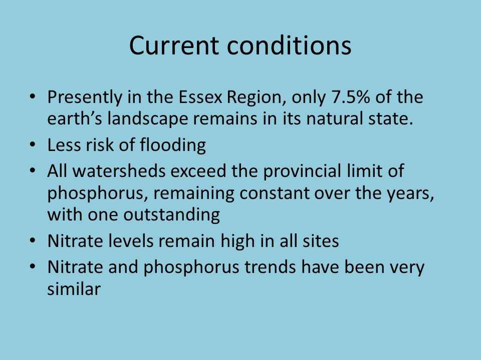 Current conditions Presently in the Essex Region, only 7.5% of the earth's landscape remains in its natural state.