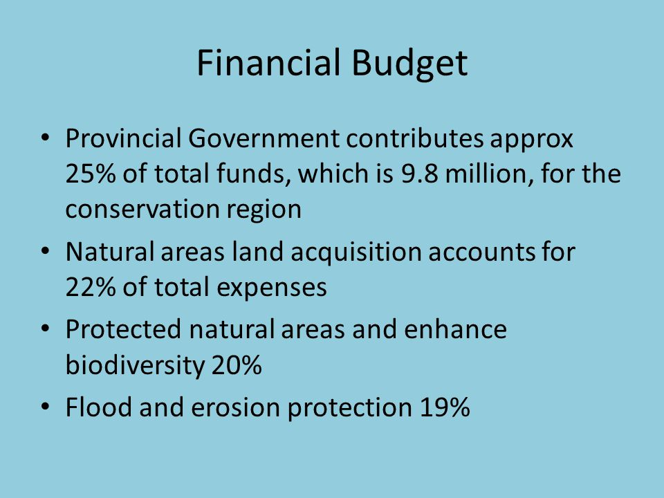 Financial Budget Provincial Government contributes approx 25% of total funds, which is 9.8 million, for the conservation region Natural areas land acquisition accounts for 22% of total expenses Protected natural areas and enhance biodiversity 20% Flood and erosion protection 19%