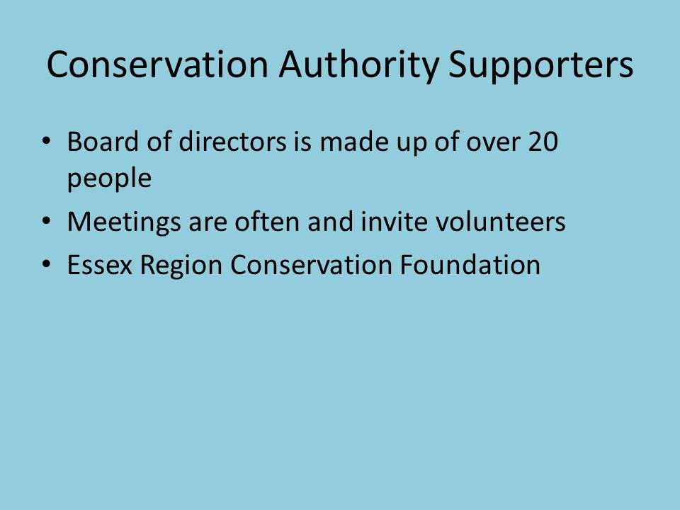Conservation Authority Supporters Board of directors is made up of over 20 people Meetings are often and invite volunteers Essex Region Conservation Foundation