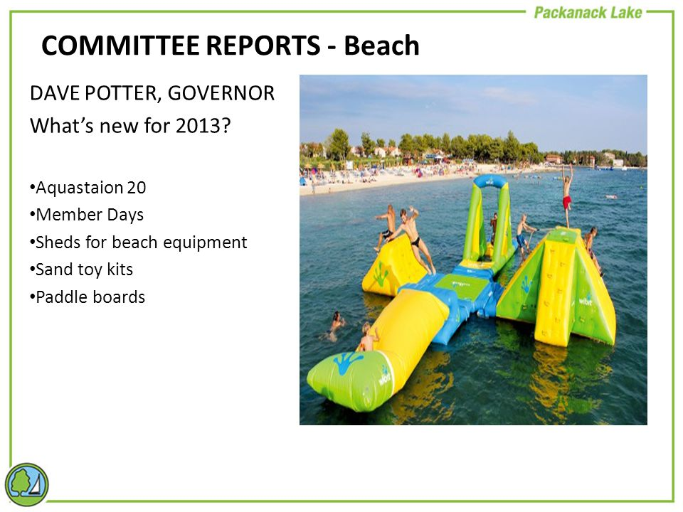 COMMITTEE REPORTS - Beach DAVE POTTER, GOVERNOR What's new for 2013.