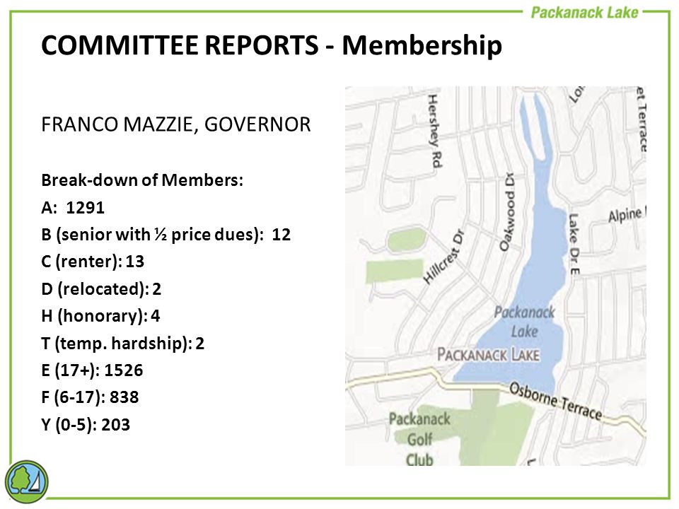 FRANCO MAZZIE, GOVERNOR Break-down of Members: A: 1291 B (senior with ½ price dues): 12 C (renter): 13 D (relocated): 2 H (honorary): 4 T (temp.
