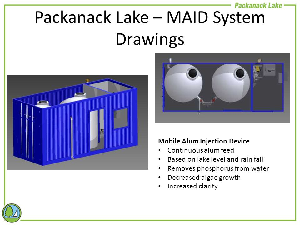 Packanack Lake – MAID System Drawings Mobile Alum Injection Device Continuous alum feed Based on lake level and rain fall Removes phosphorus from water Decreased algae growth Increased clarity