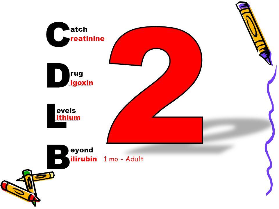 CDLBCDLB atch rug evels eyond reatinine igoxin ithium ilirubin 1 mo - Adult