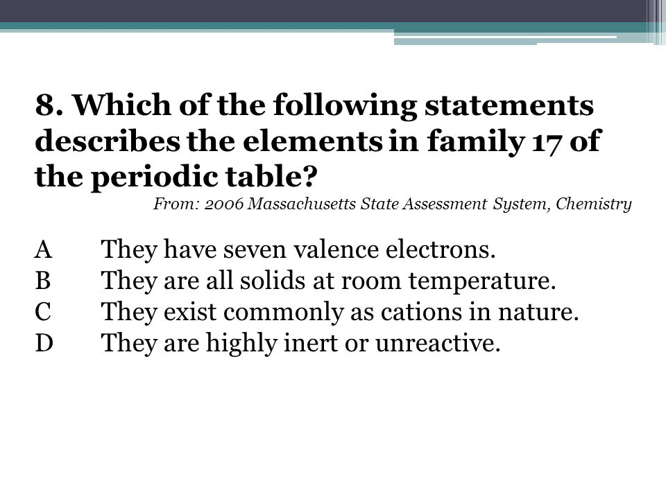 8. Which of the following statements describes the elements in family 17 of the periodic table.