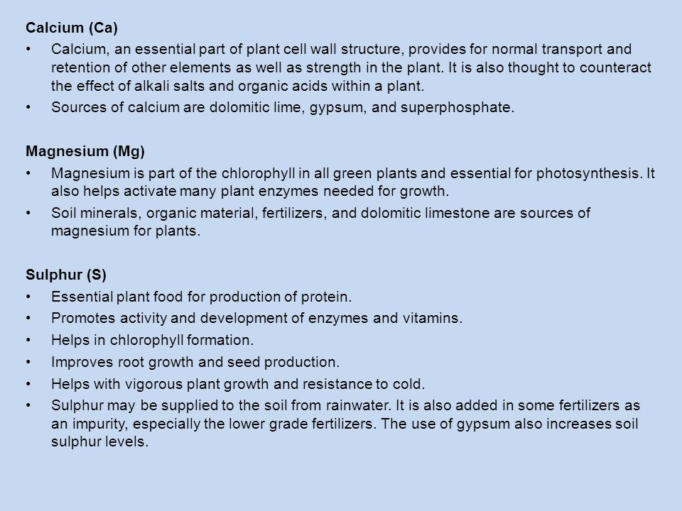 Calcium (Ca) Calcium, an essential part of plant cell wall structure, provides for normal transport and retention of other elements as well as strengt
