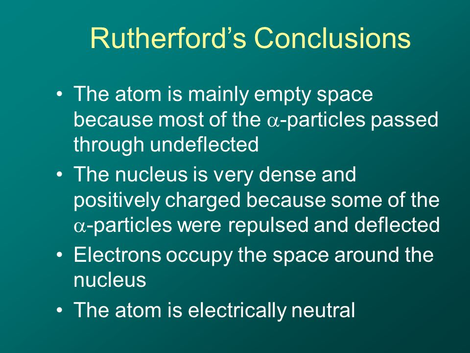 Rutherford's Conclusions The atom is mainly empty space because most of the  -particles passed through undeflected The nucleus is very dense and positively charged because some of the  -particles were repulsed and deflected Electrons occupy the space around the nucleus The atom is electrically neutral