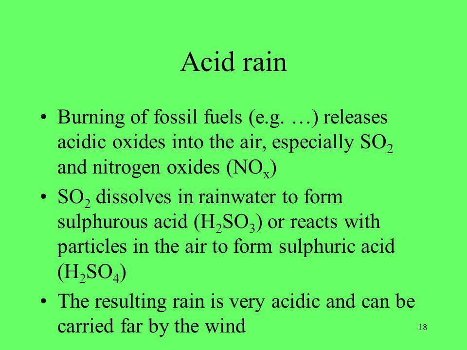 18 Acid rain Burning of fossil fuels (e.g.
