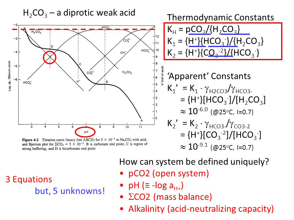 Thermodynamic Constants K H = pCO 2 /{H 2 CO 3 } K 1 = {H + }{HCO 3 - }/{H 2 CO 3 } K 2 = {H + }{CO 3 -2 }/{HCO 3 - } 'Apparent' Constants K 1 ' = K 1   H2CO3 /  HCO3- = {H + }[HCO 3 - ]/[H 2 CO 3 ]  10 -6.0 (@25 o C, I=0.7) K 2 ' = K 2   HCO3- /  CO3-2 = {H + }[CO 3 -2 ]/[HCO 3 - ]  10 -9.1 (@25 o C, I=0.7) 3 Equations but, 5 unknowns.