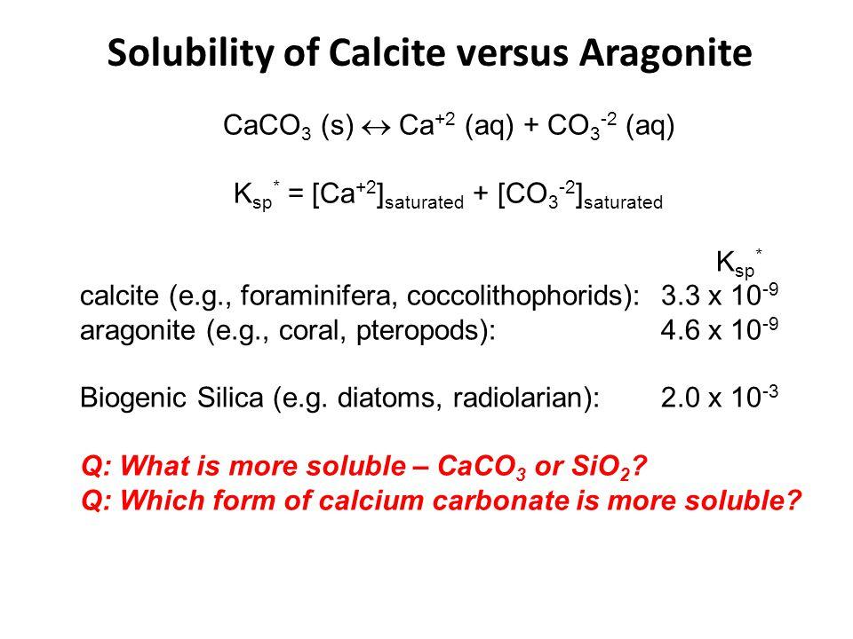 CaCO 3 (s)  Ca +2 (aq) + CO 3 -2 (aq) K sp * = [Ca +2 ] saturated + [CO 3 -2 ] saturated K sp * calcite (e.g., foraminifera, coccolithophorids):3.3 x 10 -9 aragonite (e.g., coral, pteropods):4.6 x 10 -9 Biogenic Silica (e.g.