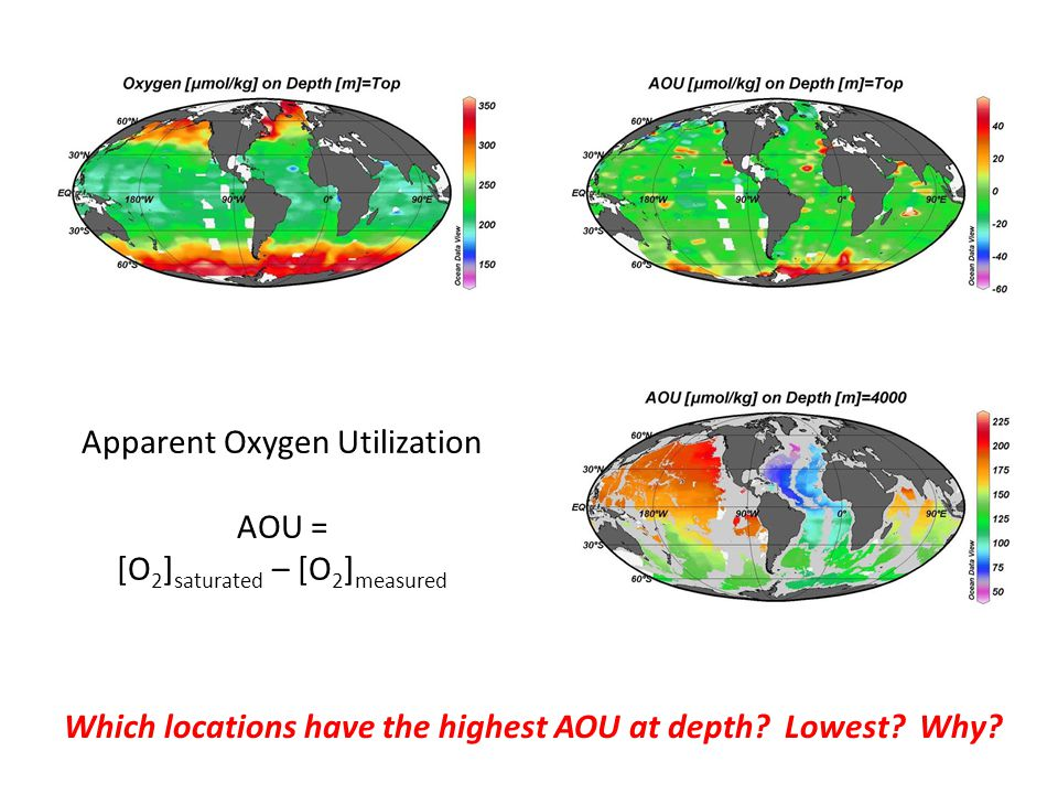 Apparent Oxygen Utilization AOU = [O 2 ] saturated – [O 2 ] measured Which locations have the highest AOU at depth.