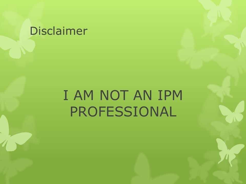 Disclaimer I AM NOT AN IPM PROFESSIONAL