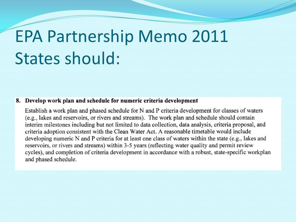 EPA Partnership Memo 2011 States should: