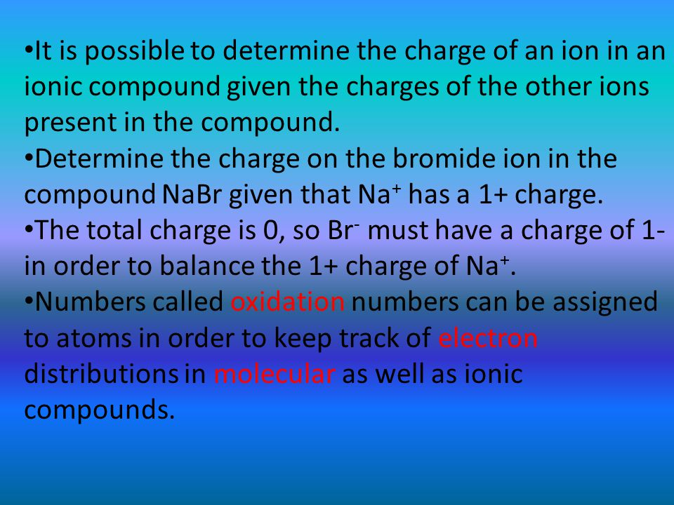 It is possible to determine the charge of an ion in an ionic compound given the charges of the other ions present in the compound. Determine the charg