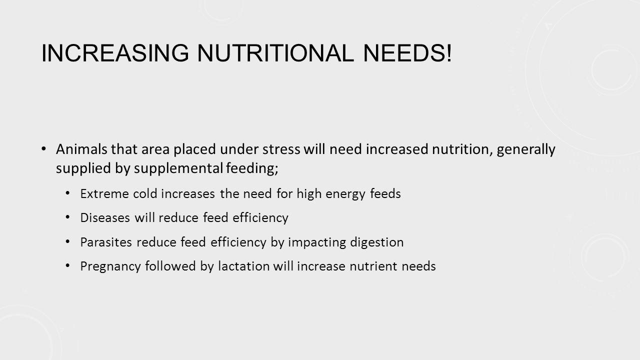 INCREASING NUTRITIONAL NEEDS.