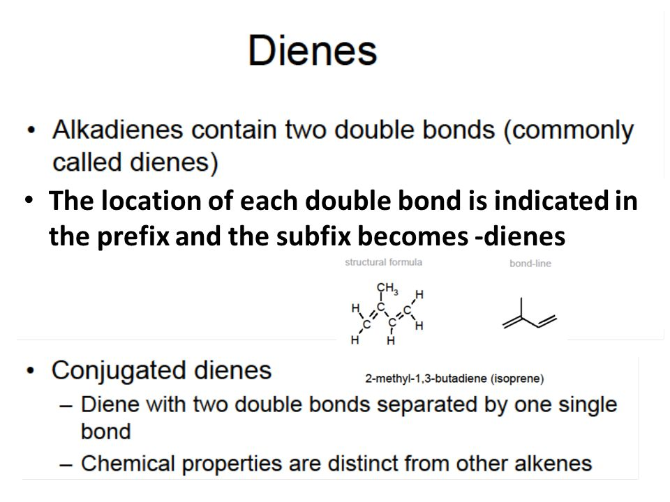 The location of each double bond is indicated in the prefix and the subfix becomes -dienes