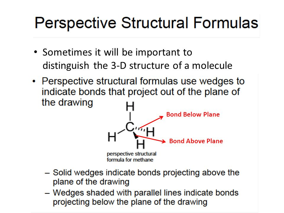 Sometimes it will be important to distinguish the 3-D structure of a molecule Bond Below Plane Bond Above Plane