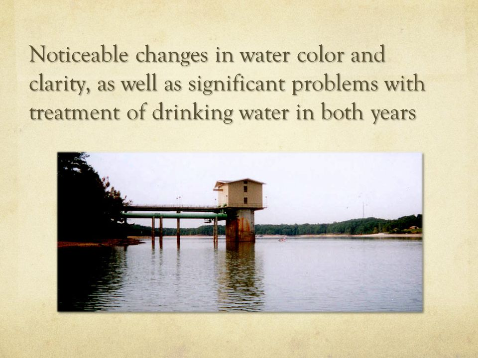 Noticeable changes in water color and clarity, as well as significant problems with treatment of drinking water in both years