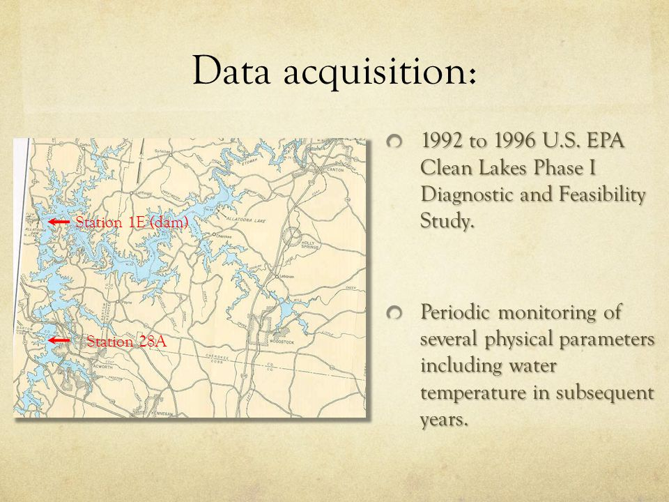 Data acquisition: 1992 to 1996 U.S. EPA Clean Lakes Phase I Diagnostic and Feasibility Study. Periodic monitoring of several physical parameters inclu