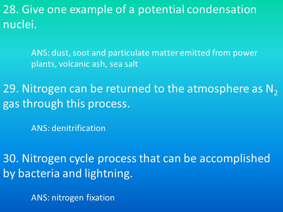 28.Give one example of a potential condensation nuclei.